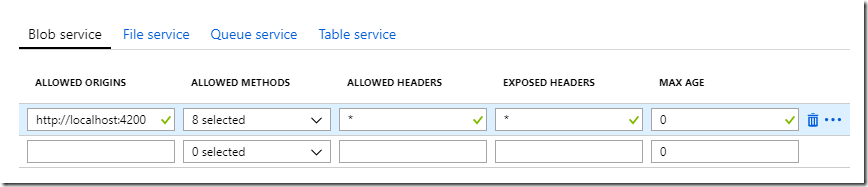 Setting up CORS for Azure BLOB Storage